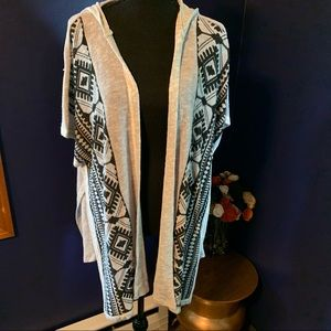 NWT ss cardigan cover up with hood